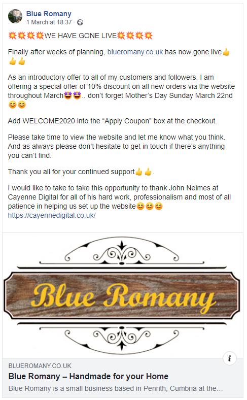 blue romany facebook screenshot